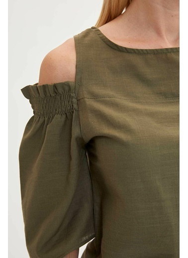 DeFacto Omuz Detaylı Bluz Haki